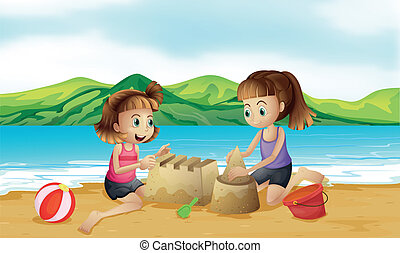 Two friends making a castle at the beach