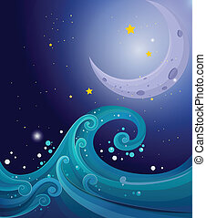 An image of the sea waves with a moon