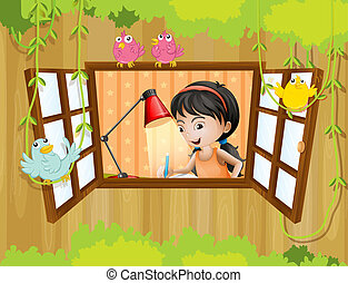A girl studying near the window with birds - Illustration of...