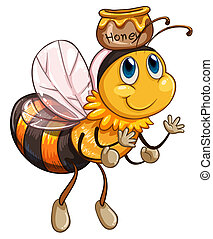 A bee flying with a pot of honey - Illustration of a bee...