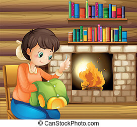 A woman sewing near the fireplace - Illustration of a woman...