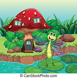 A giant mushroom house with a dragonfly - Illustration of a...