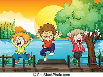 Three happy boys at the wooden bridge - Illustration of the...