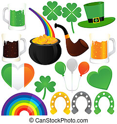 Saint Patrick's Day, cold beer - A set of Vector Icons :...