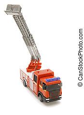 fire engine - object on white - toy fire fighting vehicle