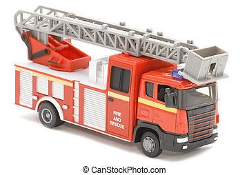 fire fighting vehicle - object on white - toy fire fighting...