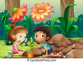 A girl and a boy looking at the plant with a magnifying...