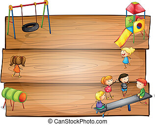 Empty wooden signboards with kids playing - Illustration of...