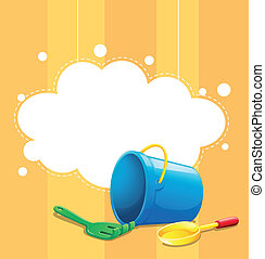 A stationery with a blue pail, a shovel and fork -...