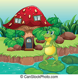 A frog standing near the red mushroom house