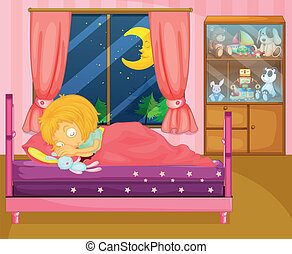 A girl sleeping soundly in her room - Illustration of a girl...