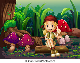 A girl sitting on a wood with mushrooms