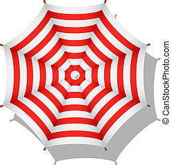 Striped beach umbrella - Red and white striped beach...