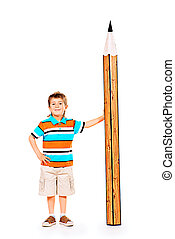 standing pan - Cute boy standing with a huge pencil...