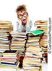 education - A boy sitting on a pile of books and shouting....