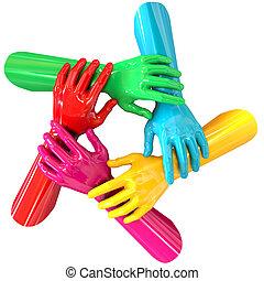 mãos, coloridos, círculo, segurando, cada,...