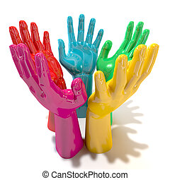 mãos, coloridos, círculo, Alcançar,...