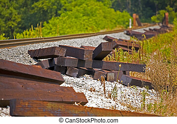 Replacement Ties - Railroad ties lying along side the track...