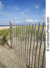 Weathered wooden fence on sand dune.