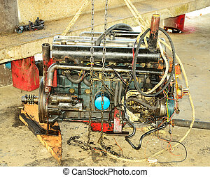 The old boat machine prepare for maintainant