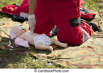 first aid training  - Infant dummy CPR training
