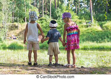 children together in nature