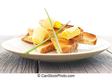 Butter on toast breakfast