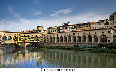 Florence Old Bridge, - Florence, between the buildings of...