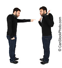 Two men accused against himself on white background