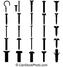 Working Tools - Bolt, Nail, hook - A set of Vector...