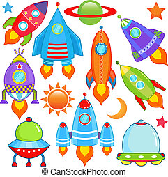 spaceship, Spacecraft, Rocket, UFO - vector collection of...