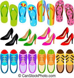 chaussures, (boots, élevé, talons, sneakers)
