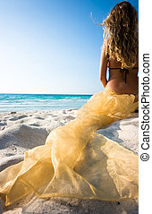 Mermaid - Blond mermaid with yellow transparent textile...