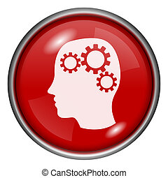 Red round glossy icon with white design on red background
