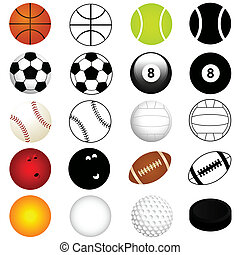 Balls in color and silhouette - Vector Sports Set : Balls in...