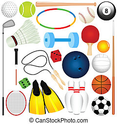 Sports Set: Balls, other exercise - Colorful Vector Sports...