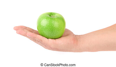 Granny Smith of apple from low perspective. Hand.