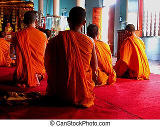 budistas, Tailandia, monjes