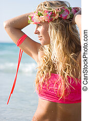 Aloha Hawaii - Beautiful beach girl in Hawaii wreath