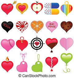 A vector collection of Valentine - colorful set of heart...