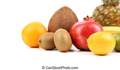 fruits composition isolated on a white background