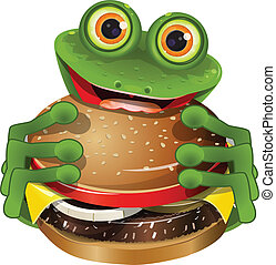 frog with cheeseburger - illustration merry green frog with...