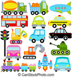 Car / Vehicles / Transportation - A set of cute Vector Icons...