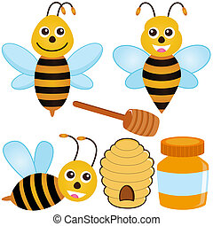 Bee, Honey, Beehive - A colorful set of cute Vector Icons :...