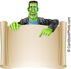 Frankenstein Halloween Sign Scroll - An illustration of a...
