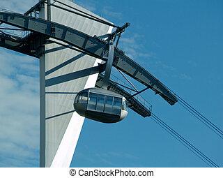 Sky Cable Car Gondola on Blue Sky - Sky Cable Car Gondola in...