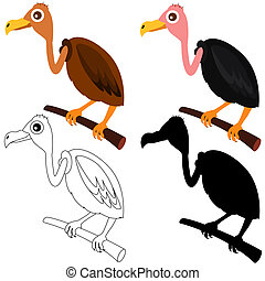 Cute vector Icons : Vultures - A Set of cute vector Icons :...