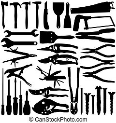 Construction Equipments Tools - Vector Silhouette -...