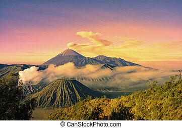 Bromo mountain and smoke