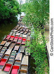 colorful boats - colorful rowing boats in Oxford